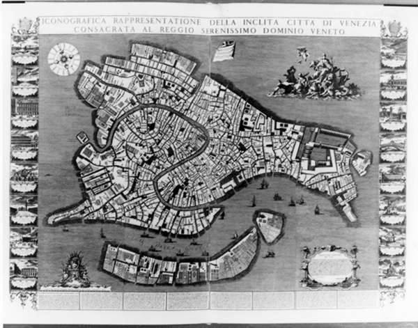 Historic Intent Lodovico Ughis Topographical Map Of Venice - Map of venice 1500